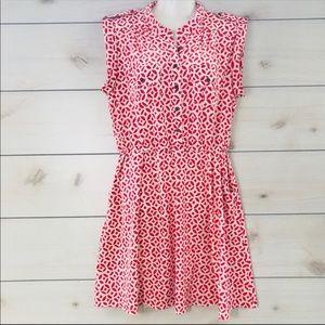 Coral Geometric Sleeveless Shirt Dress XL
